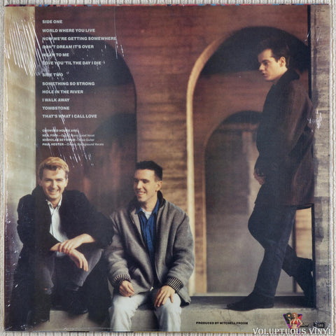 Crowded House ‎– Crowded House vinyl record back cover