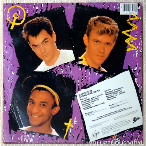 Culture Club ‎– Kissing To Be Clever vinyl record back cover