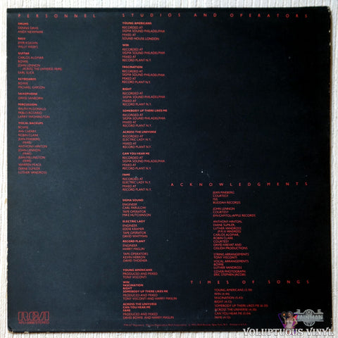 David Bowie ‎– Young Americans vinyl record back cover