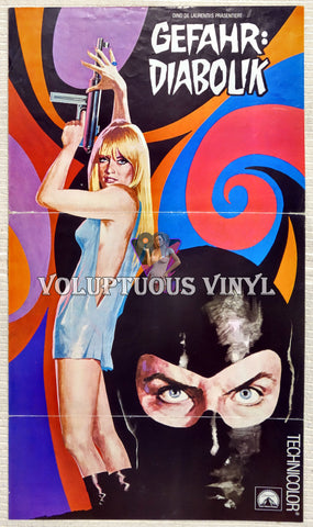 Danger: Diabolik (1968) - German Program Poster - Psychedelic Art