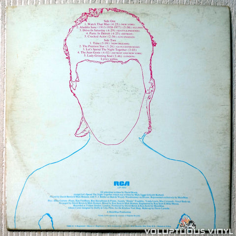 David Bowie ‎– Aladdin Sane - Vinyl Record - Back Cover
