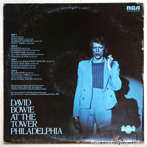David Bowie ‎– David Live - Vinyl Record - Back Cover