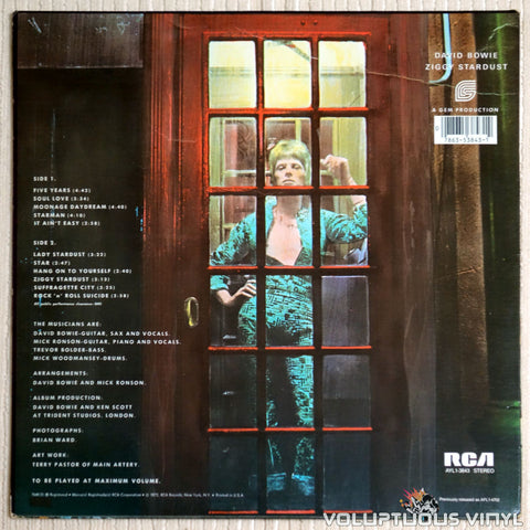 David Bowie ‎– The Rise And Fall Of Ziggy Stardust And The Spiders From Mars - Vinyl Record - Back Cover