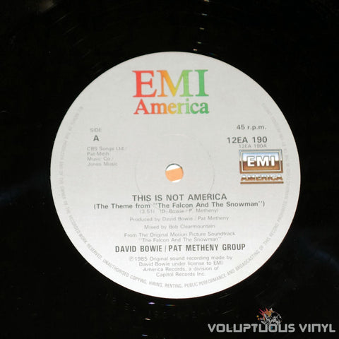David Bowie / Pat Metheny Group ‎– This Is Not America - Vinyl Record EMI Label
