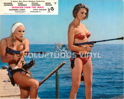 Deadlier Than The Male - UK Lobby Card - Elke Sommer & Sylva Koscina Bikini Babes