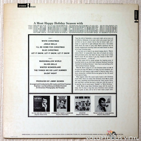 Dean Martin ‎– The Dean Martin Christmas Album - Vinyl Record - Back Cover