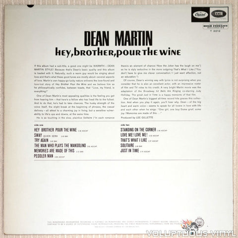 Dean Martin ‎– Hey, Brother, Pour The Wine - Vinyl Record - Back Cover