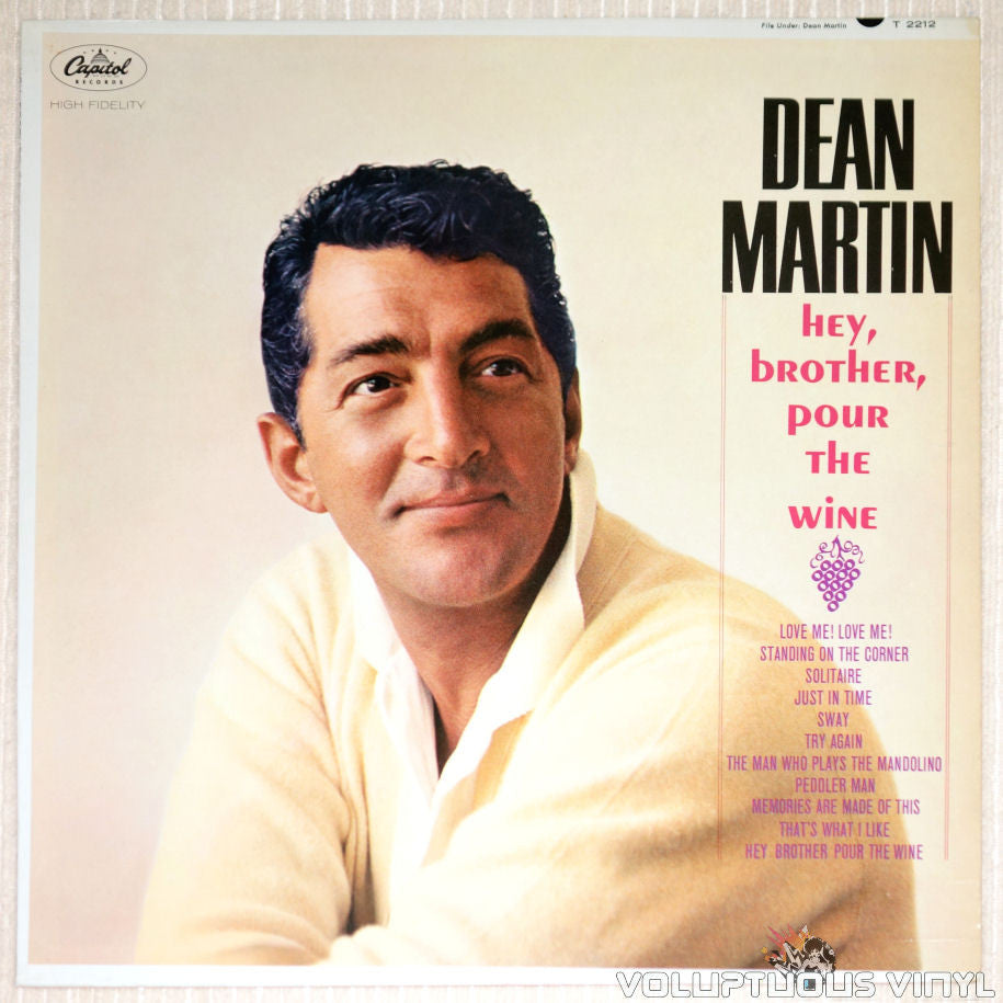 Dean Martin ‎– Hey, Brother, Pour The Wine - Vinyl Record - Front Cover