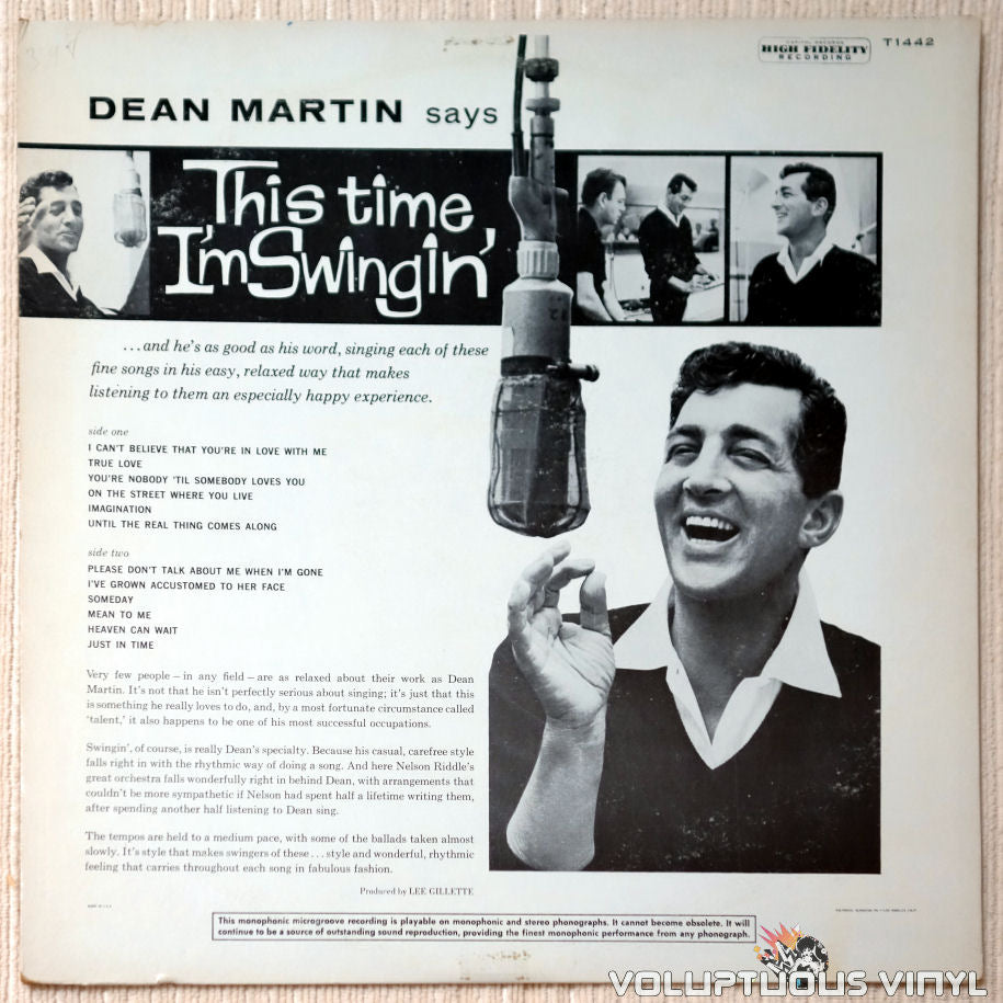 Dean Martin Orchestra Conducted By Nelson Riddle ‎– This Time I'm Swingin'  (1960) MONO