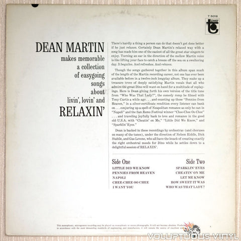 Dean Martin ‎– Relaxin' - Vinyl Record - Back Cover