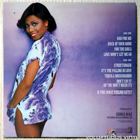 Dee Dee Bridgewater ‎– Bad For Me - Vinyl Record - Back Cover