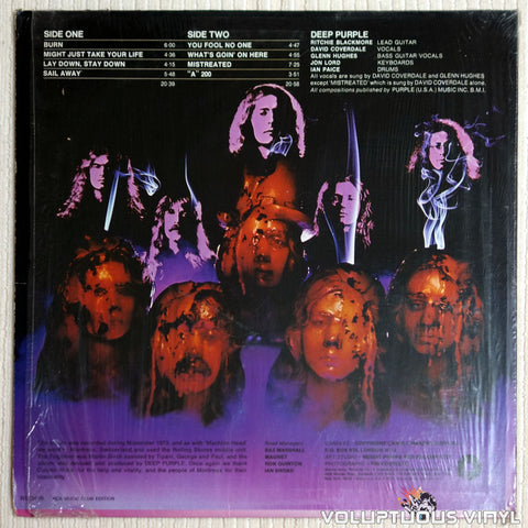 Deep Purple ‎– Burn - Vinyl Record - Back Cover