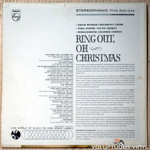 Der Bendersche Kinderchor , Vera Schink Youth Chorus And Bergedorfer Chamber Chorus ‎– Ring Out, Oh Christmas: A Collection Of The Great German Christmas Carols vinyl record back cover
