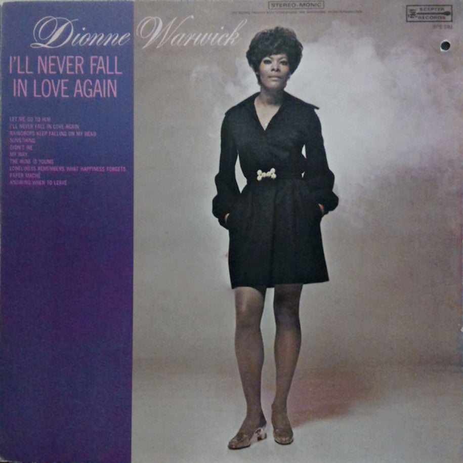 Dionne Warwick ‎– I'll Never Fall In Love Again - Vinyl Record - Front Cover