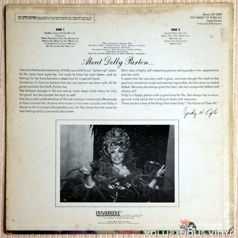 Dolly Parton ‎– The Fairest Of Them All - Vinyl Record - Back Cover