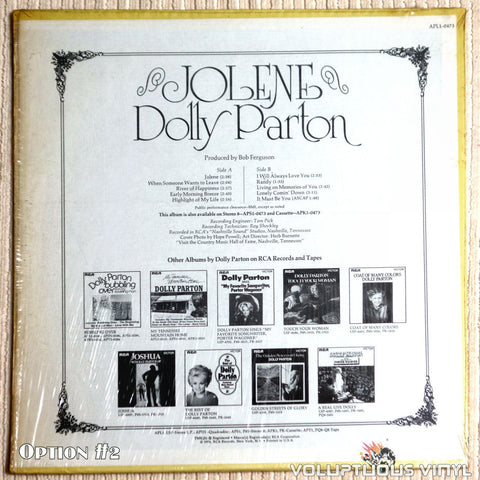 Dolly Parton ‎– Jolene - Vinyl Record - Back Cover