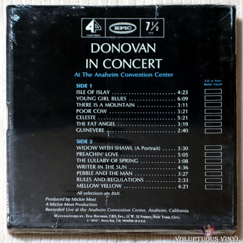 Donovan ‎– Donovan In Concert reel to reel back cover