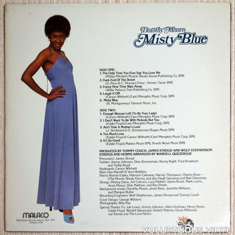Dorothy Moore ‎– Misty Blue - Vinyl Record - Back Cover