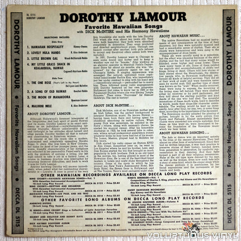 Dorothy Lamour - A Collection Of Favorite Hawaiian Songs - Vinyl Record - Back Cover