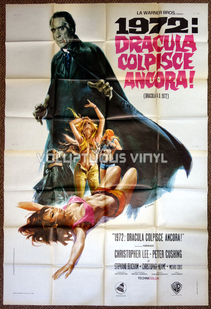 Dracula A.D. 1972 Italian 4F Poster - Christopher Lee Hunts Hippies