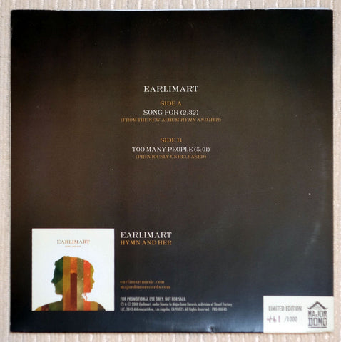 Earlimart ‎Song For Limited Edition White Vinyl Record Single Back Cover