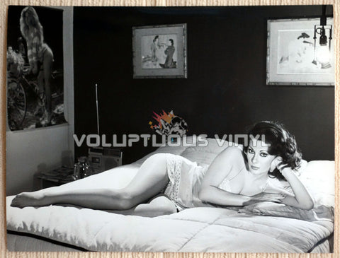 Leggy Cult Film Actress Edwige Fenech Laying on Bed
