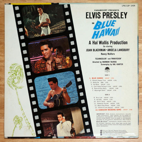 Elvis Presley ‎Blue Hawaii Vinyl Record Back Cover