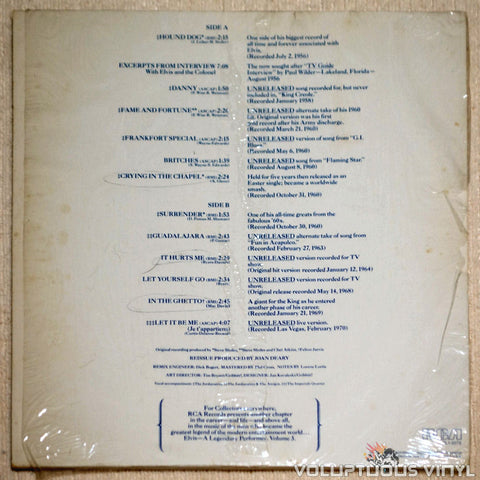 Elvis Presley ‎– A Legendary Performer - Volume 3 - Vinyl Record - Back Cover