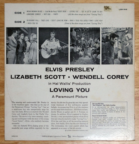 Elvis Presley ‎Loving You Vinyl Record Back Cover