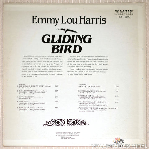 Emmy Lou Harris ‎– Gliding Bird - Vinyl Record - Back Cover