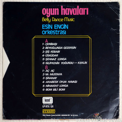 Esin Engin Orkestrası ‎– Oyun Havaları Belly Dance Music - Vinyl Record - Back Cover