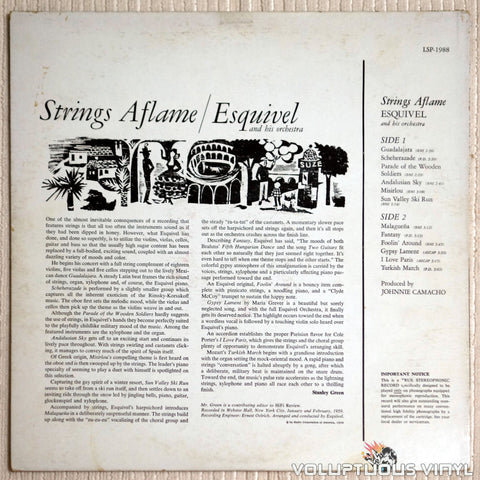 Esquivel And His Orchestra ‎– Strings Aflame - Vinyl Record - Back Cover
