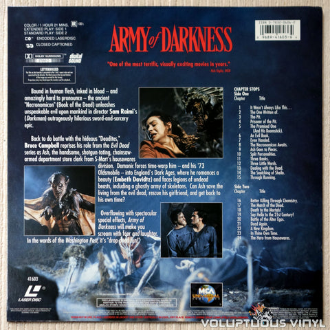 Evil Dead 3: Army of Darkness - LaserDisc - Back Cover