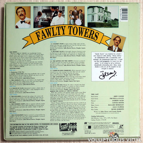 Fawlty Towers - LaserDisc - Back Cover