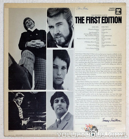 Kenny Rogers & The First Edition Vinyl Record Back Cover