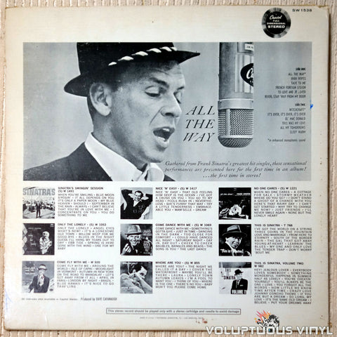 Frank Sinatra ‎– All The Way vinyl record back cover