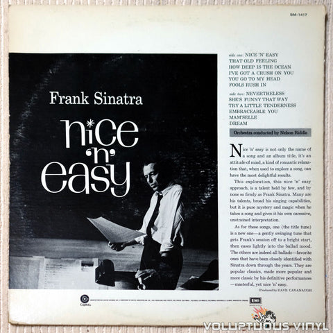 Frank Sinatra ‎– Nice 'N' Easy vinyl record back cover