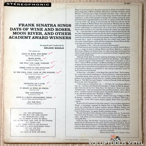 Frank Sinatra ‎– Sings Days Of Wine And Roses, Moon River, And Other Academy Award Winners - Vinyl Record - Back Cover