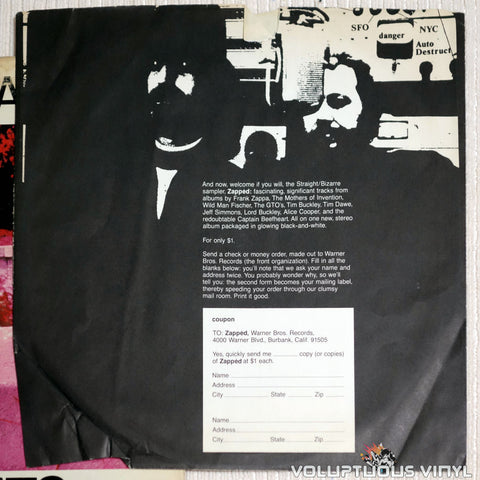 Frank Zappa ‎– Hot Rats - Vinyl Record - Zapped Inner Sleeve