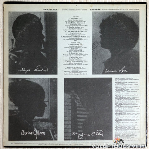 The Friends Of Distinction ‎– Whatever - Vinyl Record - Back Cover