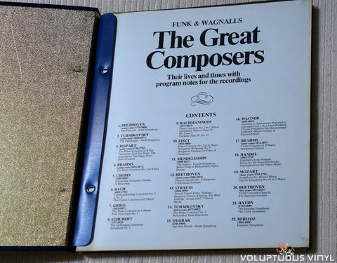 Various - Funk & Wagnalls The Great Composers - Vinyl Record - Box Set Book Table of Contents