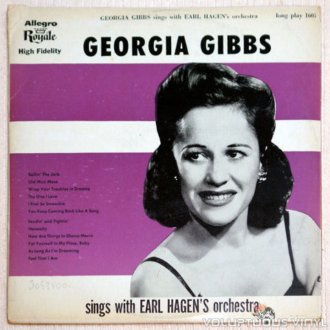 Georgia Gibbs ‎– Sings With Earl Hagen's Orchestra - Vinyl Record - Front Cover