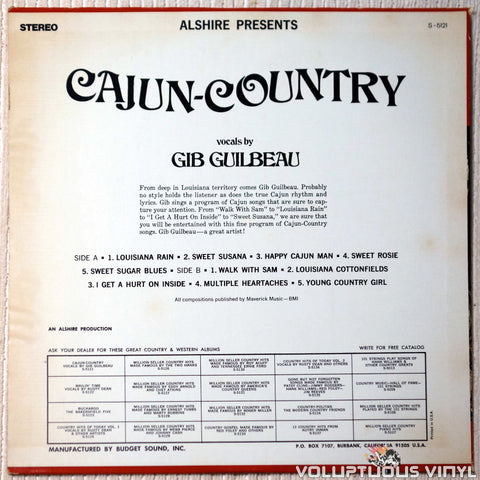 Gib Guilbeau ‎– Cajun Country vinyl record back cover