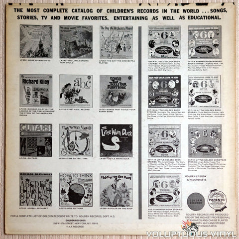 Golden Orchestra And Chorus ‎– Willy Wonka And The Chocolate Factory And Other Sweet Songs - Vinyl Record - Back Cover