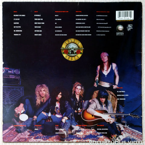 Guns N' Roses ‎– Appetite For Destruction vinyl record back cover