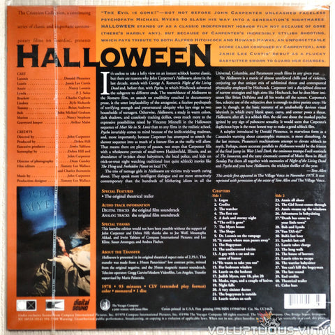 Halloween: Criterion Collection #310 - LaserDisc - Back Cover