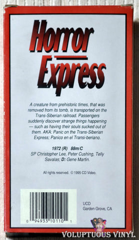 Horror Express VHS back cover