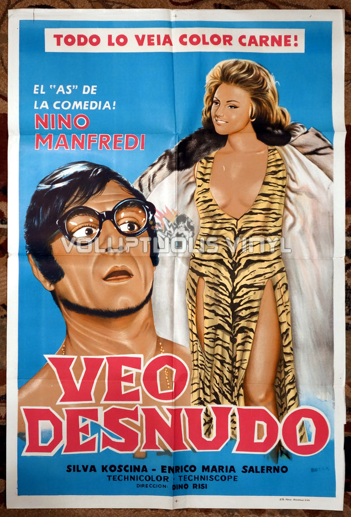 I See Naked [Veo desnudo] (1969) - Argentinean 1-Sheet - Sexy Sylva Koscina Tiger Print Dress