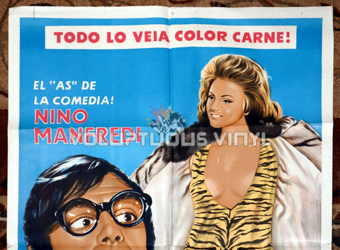 I See Naked [Veo desnudo] (1969) - Argentinean 1-Sheet - Sexy Sylva Koscina Tiger Print Dress top half