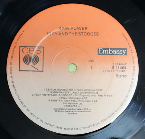Iggy And The Stooges ‎Raw Power CBS Vinyl Record